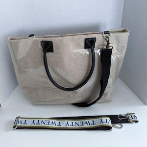 JUST Canvas PVC Tote Satchel Bag